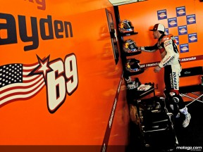 Nicky Hayden in the Repsol Honda Team garage