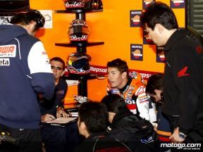 Nicky Hayden in the Repsol Honda Team garage
