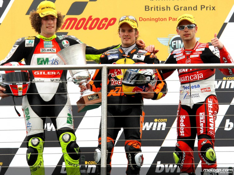 Kallio, Simoncelli and Bautista on the podium at Donington (250cc)