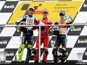 Stoner, Rossi and Pedrosa on the podium at Donington (MotoGP)