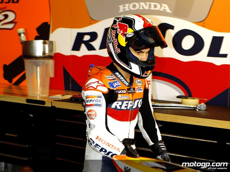 Dani Pedrosa in the Repsol Honda garage (MotoGP)