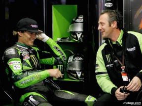 Anthony West in the Kawasaki Racing garage