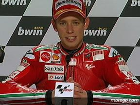 Casey Stoner interview after race in Donington Park