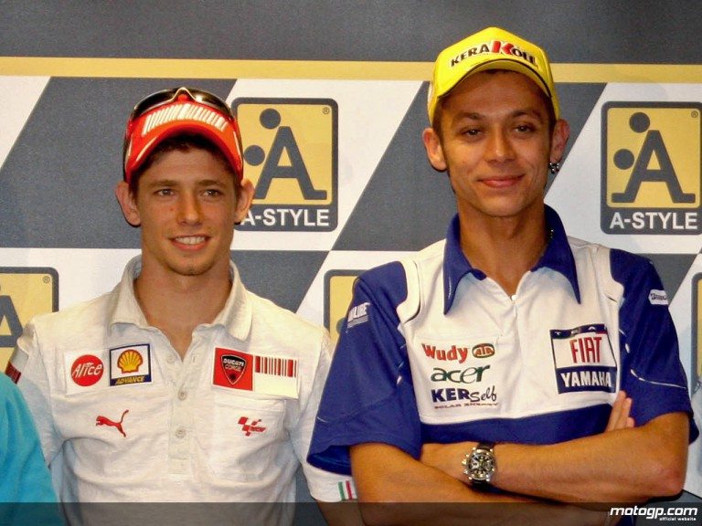 Valentino Rossi and Casey Stoner at the Assen circuit on the eve of A-Style TT