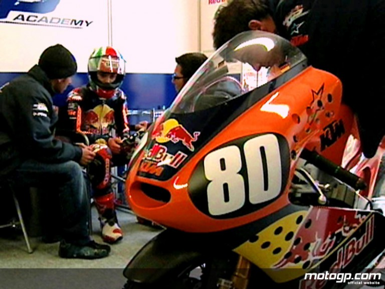Red Bull MotoGP Academy rider Jonas Folger in his garage