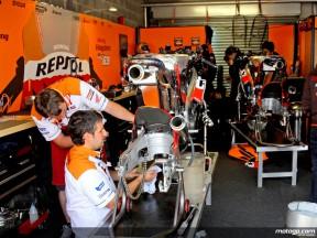 Repsol Honda staff at work in garage
