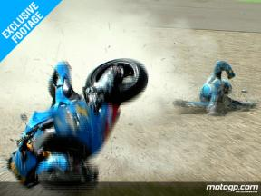 EXCLUSIVE FOOTAGE: Capirossi crashes in the second free practice session at Assen