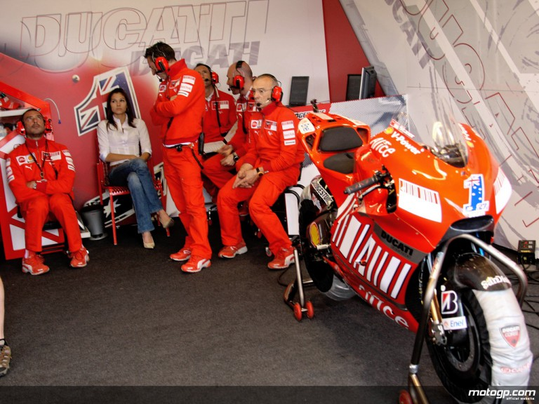 Ducati Marlboro staff in garage