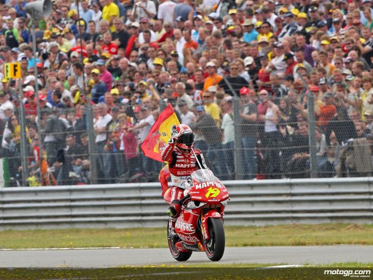 Alvaro Bautista celebrates 250cc victory in Assen