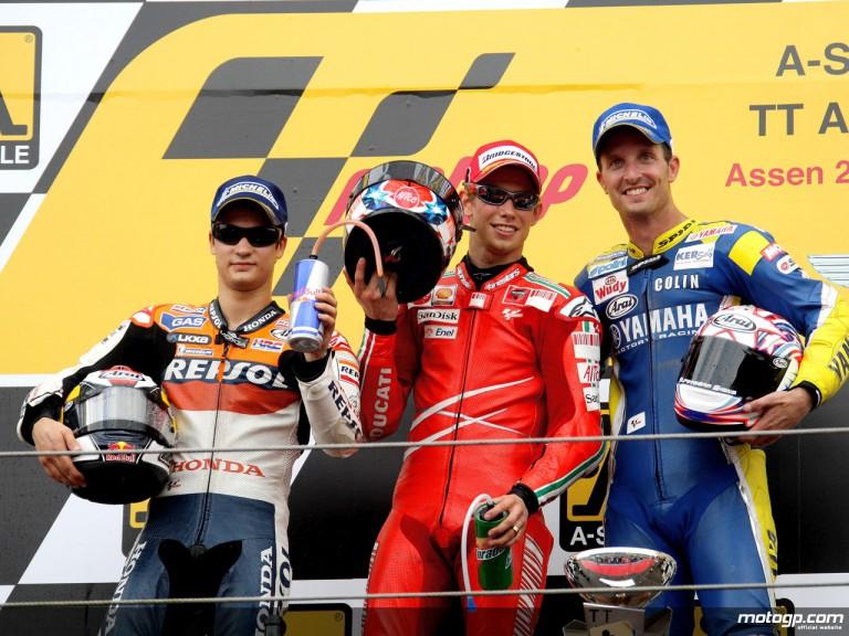 Stoner, Pedrosa and Edwards on the podium at Assen (MotoGP)