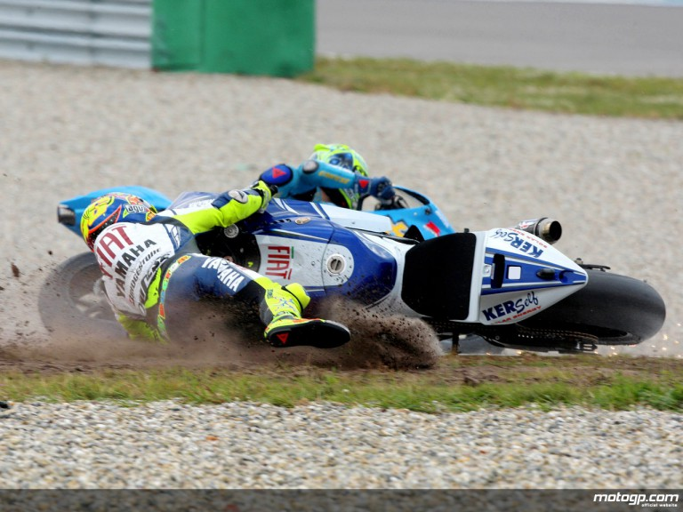 Fiat Yamaha´s Rossi crashes on the first lap of the A-Style TT Assen