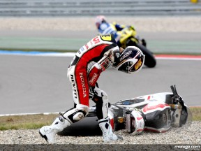Randy de Puniet taken out by Rossi in the early stages of the race in Assen