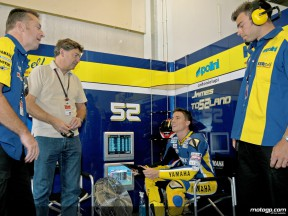 James Toseland in the Tech 3 garage
