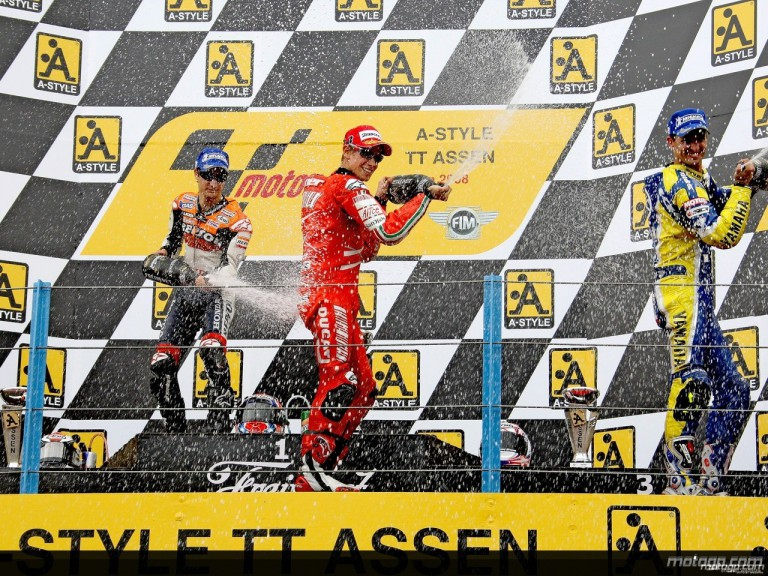 Pedrosa, Stoner and Edwards celebrate on the podium at Assen