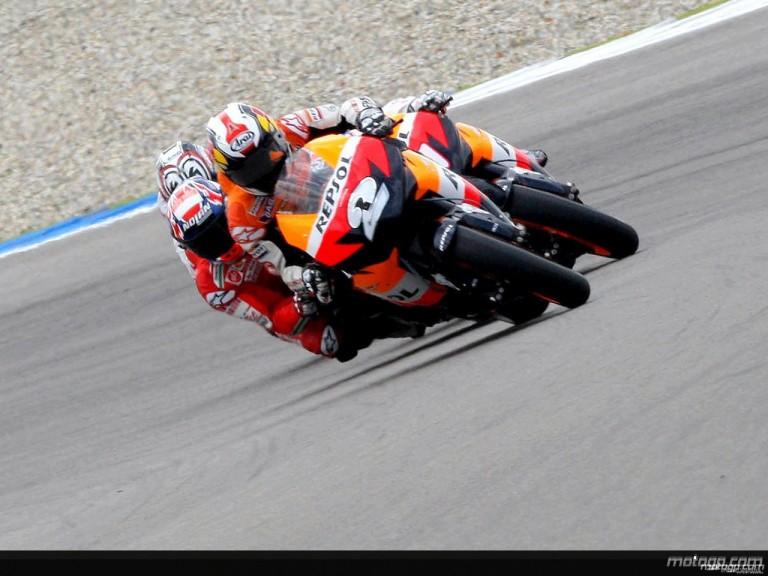 MotoGP group in action in Assen