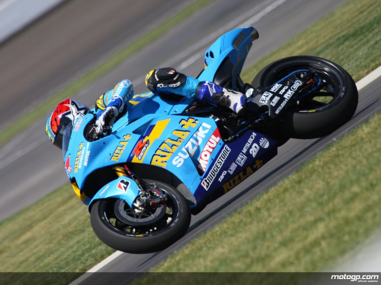 Rizla Suzuki´s Ben Spies building up MotoGP experience at the Indy Test