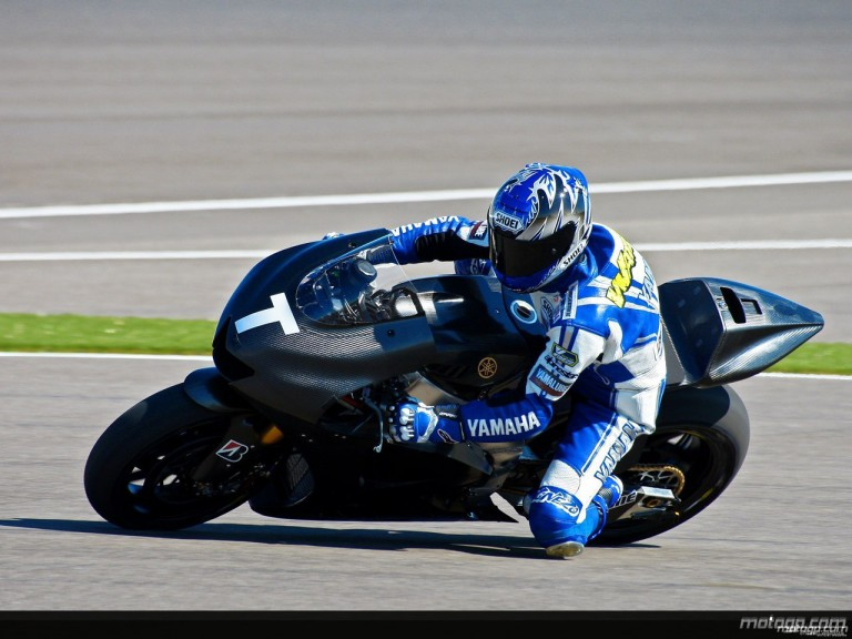 Wataru Yoshikawa of Japan on his Yamaha MotoGP bike