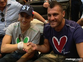 Jorge Lorenzo teams up with Italian footballer Christian Vieri for the Bread & Butter clothing tradeshow in Barcelona
