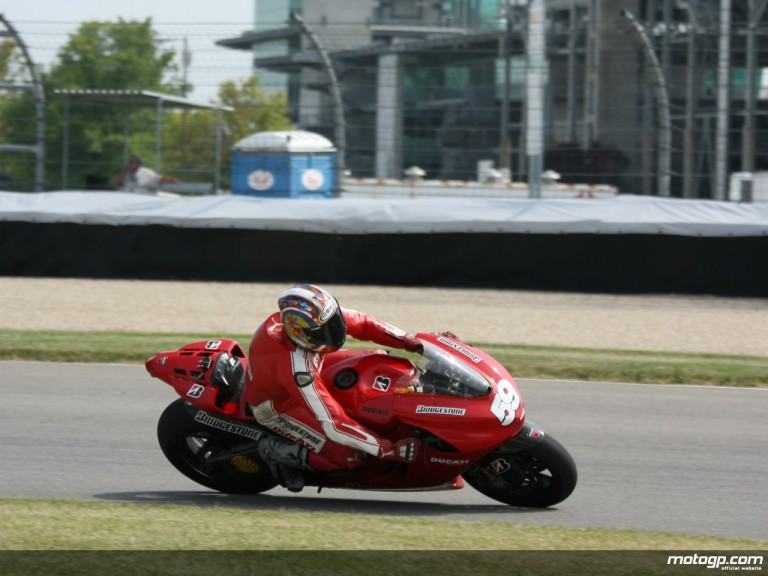 Ducati Corse test rider Niccolo Canepa completing final day of testing at Indianapolis