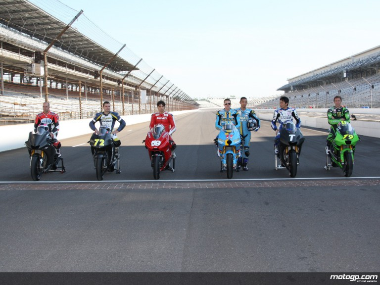 MotoGP test riders gather at the Brickyard for the first ever test ahead of the inaugural Red Bull Indianapolis GP