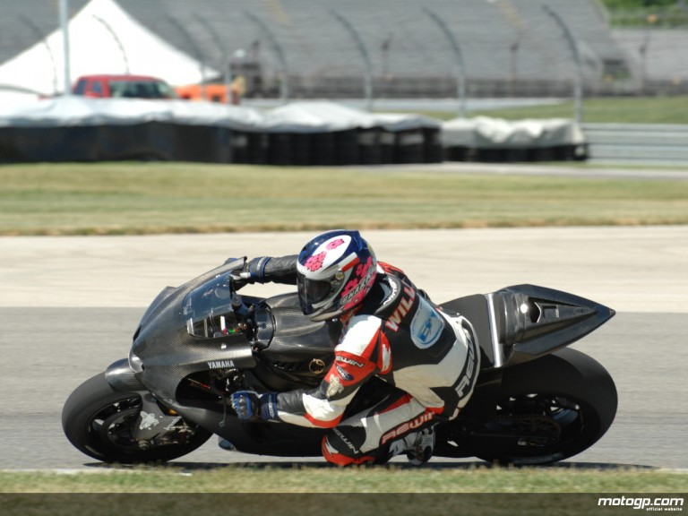 Michelin test rider William Costes riding a Yamaha YZR-M1 at the Indianapolis inaugural MotoGP test