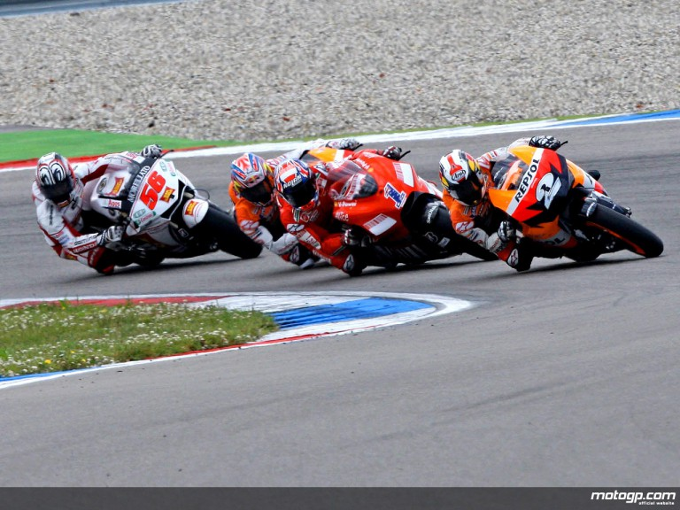 Dani Pedrosa riding ahead of MotoGP Group in Assen