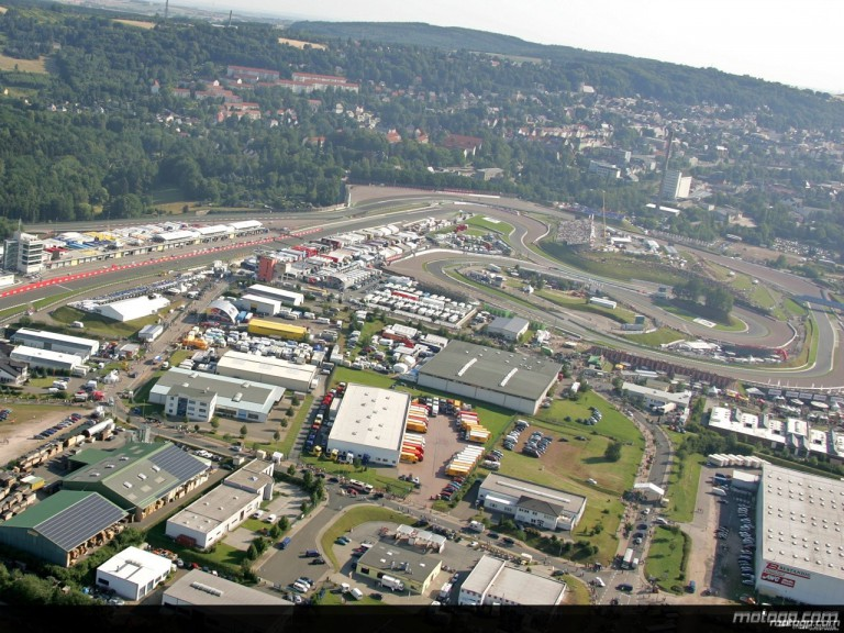 Aerial shot of the Sachsenring Circuit