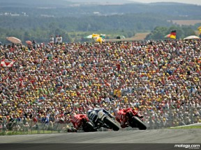 2007 MotoGP group in action in Sachsenring