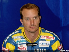 Colin Edwards in the Tech 3 Yamaha  garage