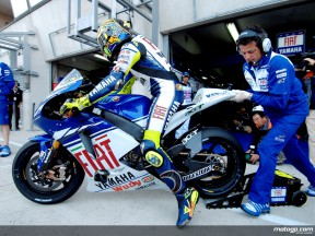 Valentino Rossi ready to get on-track aboard his YZR-M1 Yamaha