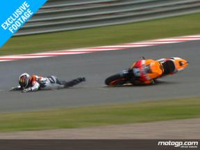EXCLUSIVE FOOTAGE - Dani Pedrosa crash in Sachsenring FP2