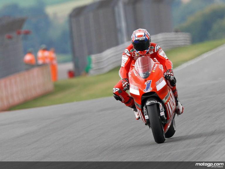 Casey Stoner in action in Sachsenring (MotoGP)