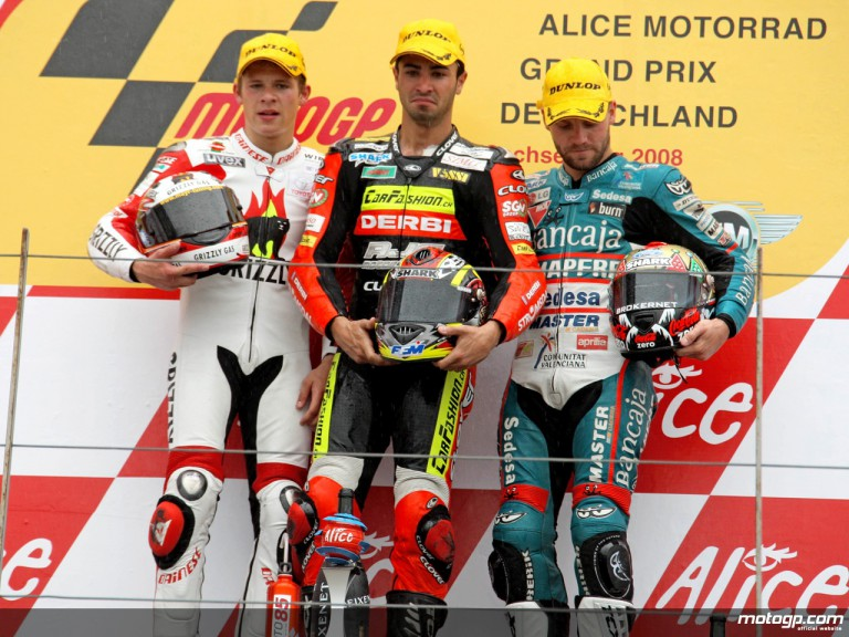 Bradl, Di Melgio and Talmacsi on the podium at Sachsenring (125cc)