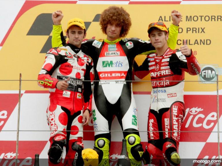 Barberá, Simoncelli and Bautista on the podium at Sachsenring (250cc)