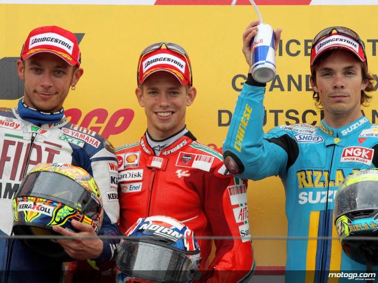 Rossi, Stoner and Vermeulen on the podium at Sachsenring (MotoGP)