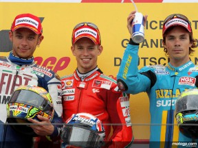 Rossi, Stoner and Vermeulen on the podium at Sachsenring (MotoGP)