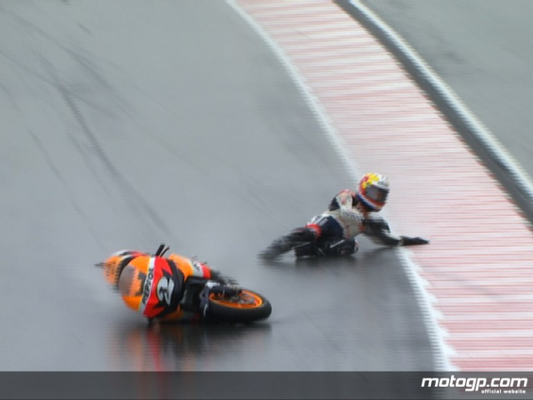 Dani Pedrosa crashes out of the lead at Sachsenring