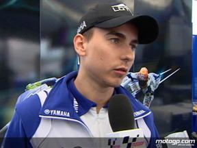 Lorenzo comenta su caída al inicio de la carrera en Sachsenring