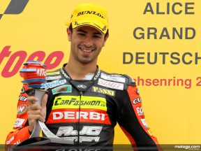 Mike Di Meglio on the podium at Sachsenring (125cc)