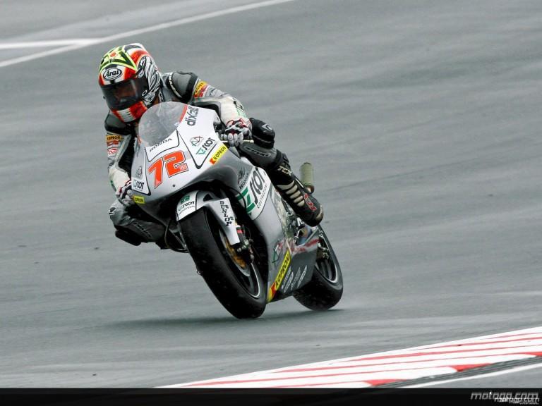 Yuki Takahashi in action in Sachsenring (250cc)