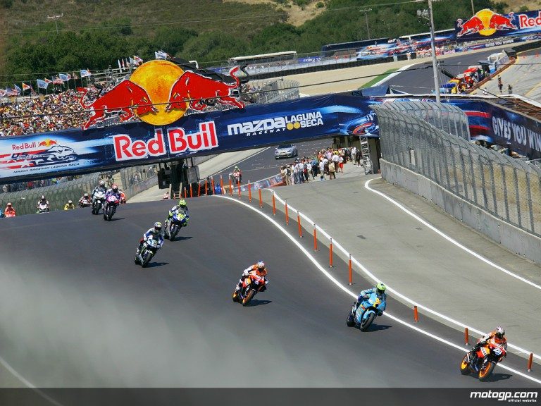 MotoGP group in action in Laguna Seca, 2007