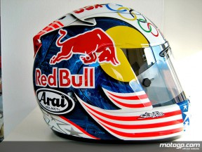 View of Hayden´s helmet for Laguna Seca