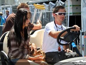 Injured Hopkins cruising in the MotoGP paddock at Laguna Seca