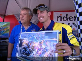 Colin Edwards at the Riders for Health auction at Laguna Seca