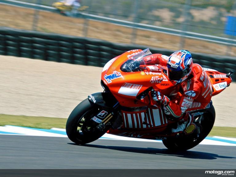 Casey Stoner in action in Laguna Seca (MotoGP)