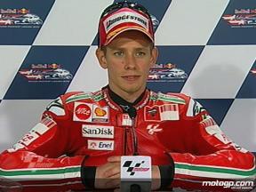Casey Stoner interview after QP in Laguna Seca