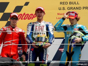 Stoner, Rossi and Vermeulen on the podium at Laguna Seca (MotoGP)