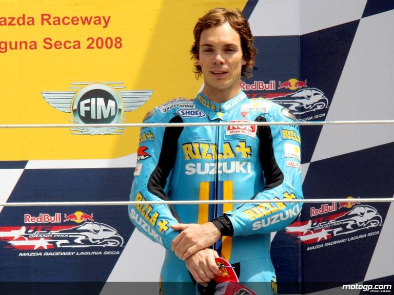 Chris Vermeulen on the podium at Laguna Seca (MotoGP)