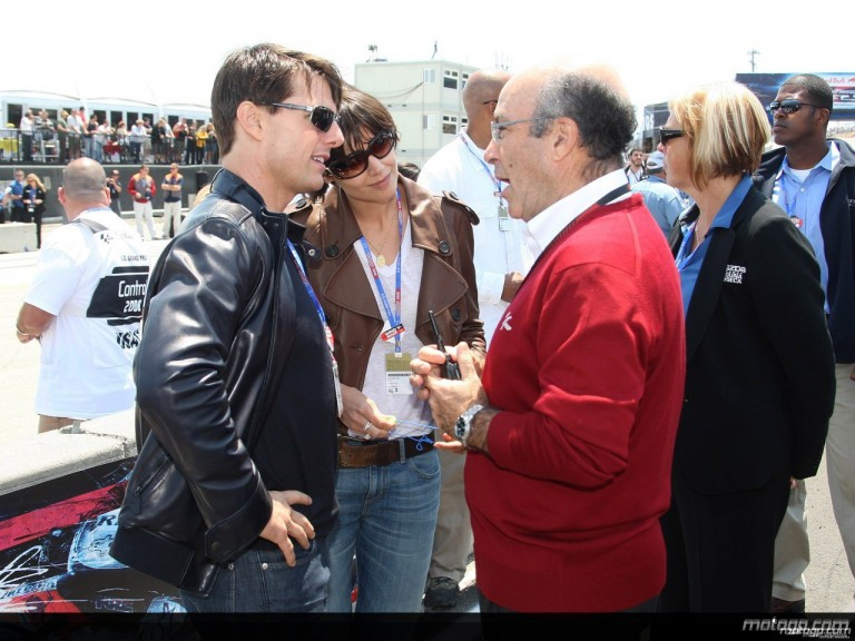 Tom Cruise and Dorna Sports CEO Carmelo Ezpeleta at the Red Bull U.S. Grand Prix