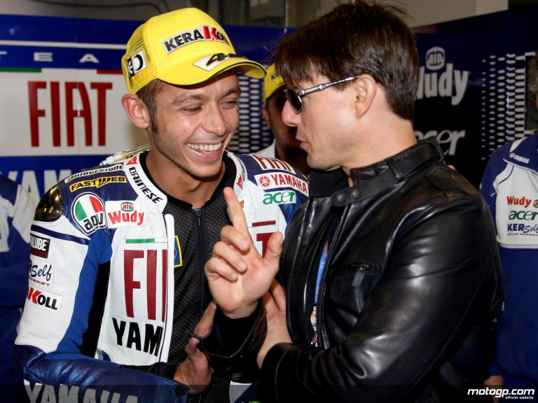Tom Cruise and Valentino Rossi in the Fiat Yamaha garage at the Red Bull U.S. Grand Prix